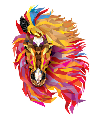Horse Geometric pattern ,Fabulous hair of horse low polygon, Vector EPS