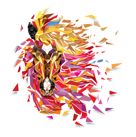 Horse Geometric pattern; Fabulous hair of horse low polygon; Vector EPS