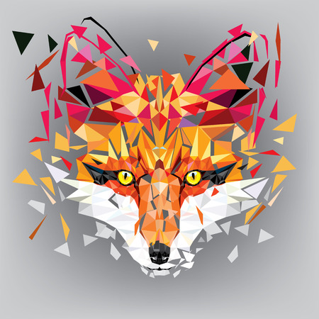 Fox head Low polygon geometric pattern, vector illustration Иллюстрация