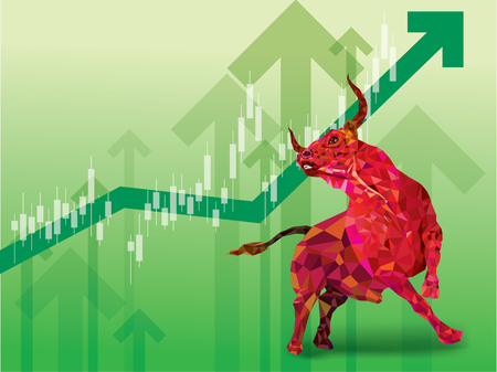 Bullish symbols on stock market vector illustration. vector Forex or commodity charts, on abstract background.