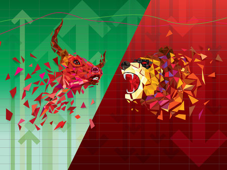 Bullish and Bearish symbols on stock market vector illustration. vector Forex or commodity charts, on abstract background. The symbol of the the bull and bear Çizim