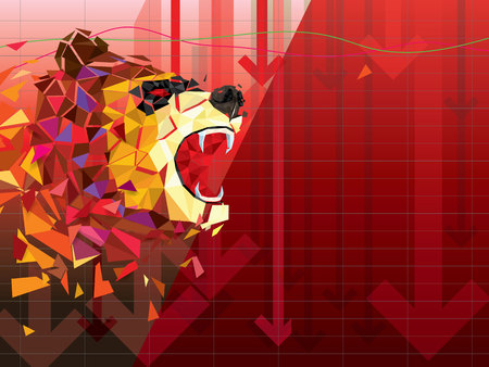 Bearish symbols on stock market vector illustration. vector Forex or commodity charts, on abstract background. The symbol of the the Bear. The stock market down turn Иллюстрация
