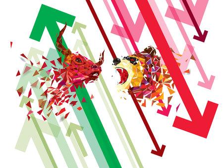Stier- und Bärensymbole auf Börsenvektorillustration. Vektor Forex oder Warendiagramme, auf abstraktem Hintergrund. Das Symbol des Stiers und des Bären