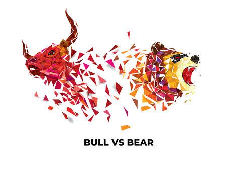 Bull e Bear simboli sul mercato azionario illustrazione vettoriale. vettore Forex o grafici delle materie prime, su sfondo astratto. Il simbolo del toro e dell'orso
