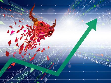 Bullish symbols on stock market Vector Illustration