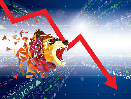 Bearish symbols on stock market vector illustration. vector Forex or commodity charts, on abstract background. The symbol of the the Bear. The stock market down turn 일러스트