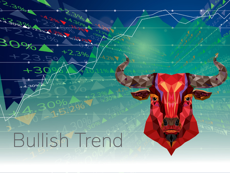 Bullish symbols on stock market Иллюстрация