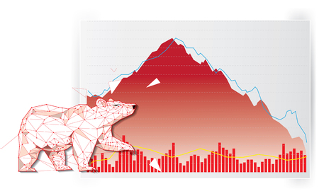 Bearish symbols on stock market vector illustration. vector Forex or commodity charts, on abstract background. The symbol of the the Bear. The stock market down turn Ilustração