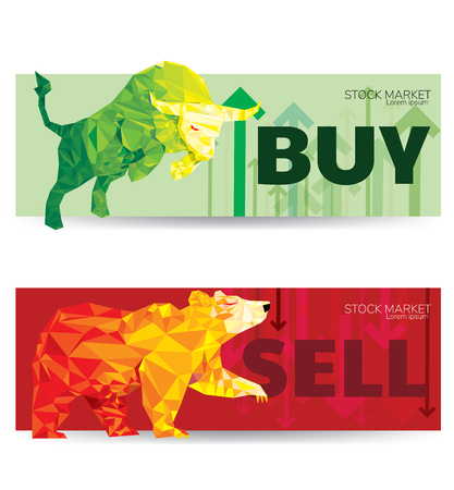 Bull and Bear abstract vector illustration. graphic design concept of stock market Bullish and Bearish trend.