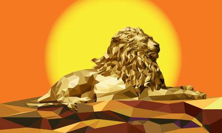 Motif géométrique Lion faible polygone Vecteurs