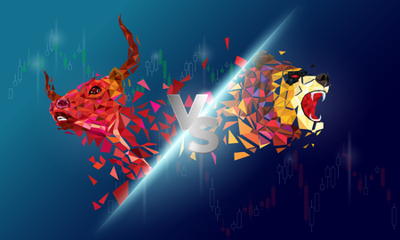 Bull and Bear abstract vector illustration. graphic design concept of stock market Bullish and Bearish trend. Foto de archivo - 124094599