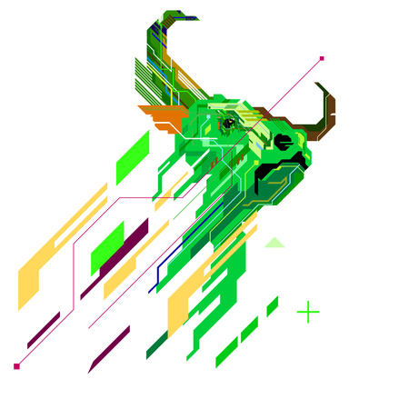 Bull line art graphic for geometric pattern, Stock market Bullish up trend