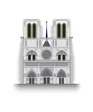 Notre Dame de Paris in France isolated on white background vector illustration