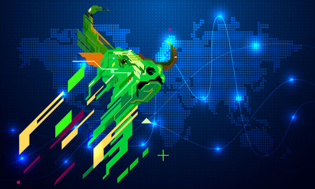 Bullish symbols on stock market Illustration