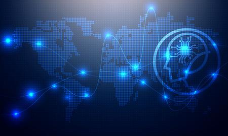 Concepto de tecnología de línea de iluminación futurista con mapa del mundo. Ilustración de vector