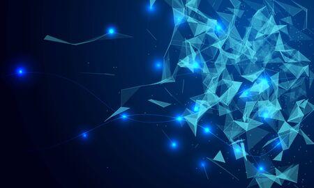 Fondo geométrico azul con líneas y puntos en movimiento.