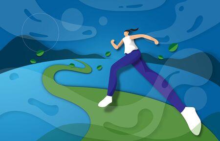 Young woman running in beautiful loandscape, Flat modern design for website landingpage.