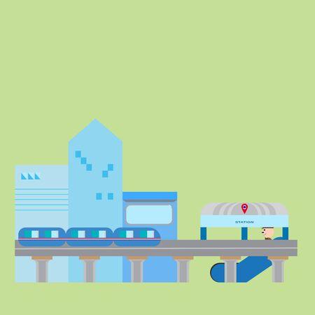 Sky train in the modern city. Ilustração