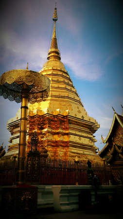 gold: Phrathat doi suthep gold pagoda in thailand