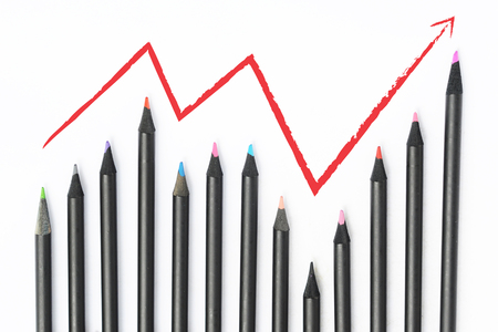 standout: Finance concept, Color pencils growing Stock Photo