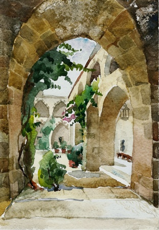 castilla: old castle watercolor