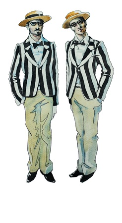 Retro brothers twins watercolor