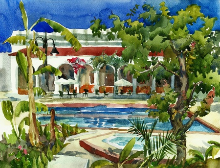 hotel all include watercolor photo