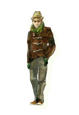 brown jacket watercolor Stock Photo - 12633623