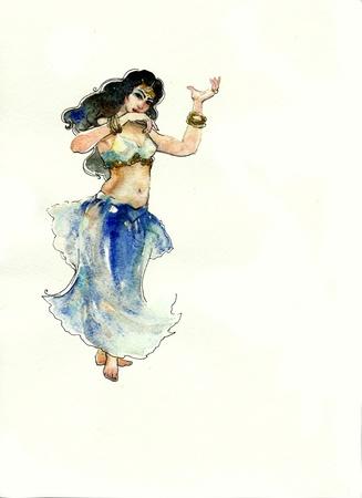 bellydance: belly dancer watercolor