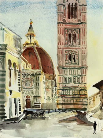 florence duomo watercolor photo