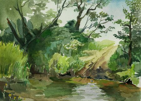 rural area: ford in the stream watercolor Stock Photo