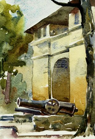 defensive: watercolor of old sandstone building - defensive position russian army fron turkish attack