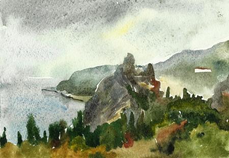 Rock in the sea watercolor photo