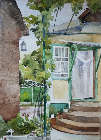 garden wall: Grape mature watercolor