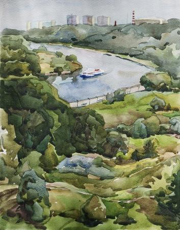 Moscow riverbank watercolor 免版税图像