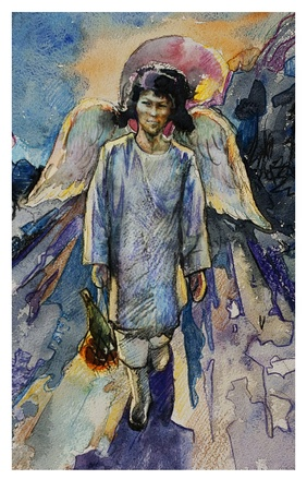 Sybirian angel with a wings photo