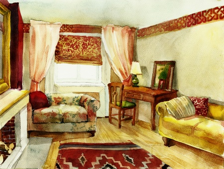 classic yellow interior watercolor Stock Photo - 12633683