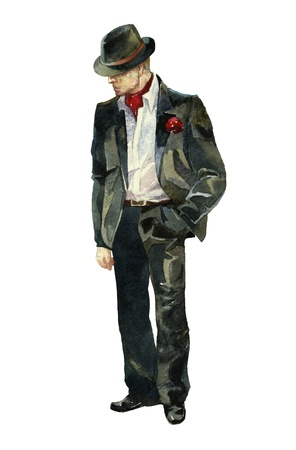 mystery man: stylish gangster watercolor