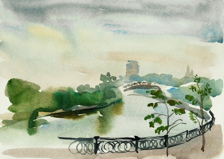 Moscow embankment watercolor Stock Photo