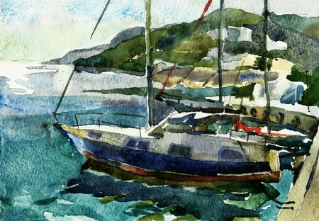 yachts in the port watercolor photo