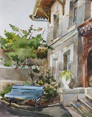 old boarding house watercolor photo
