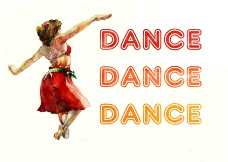 dancer in a red skirt and color text photo