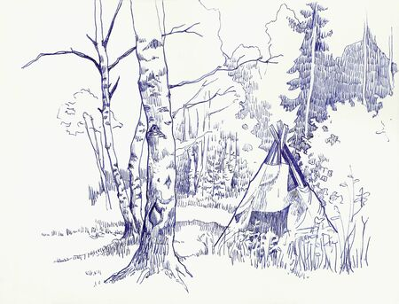 tent in a forest graphic photo
