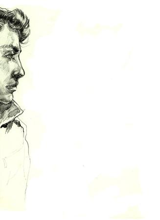 file d attente: dessin de profil homme