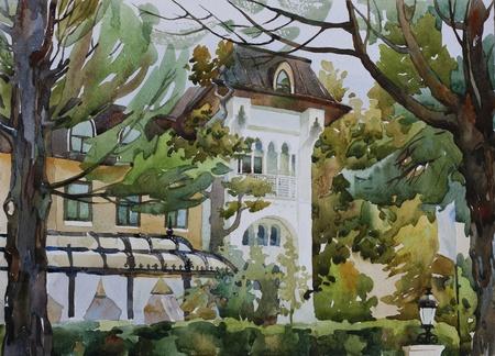 palacio ruso: Villa Sofia entre los árboles de la acuarela