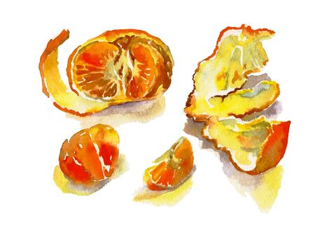 tangerine with peel andsome separeted slices