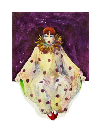 Pierrot in lilac square watercolor Foto de archivo