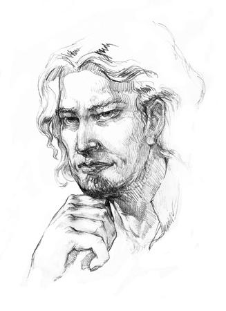 Man with a long hair drawing Foto de archivo