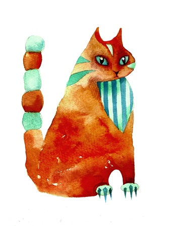 red watercolor cat stylization photo