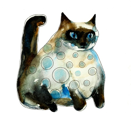 spotted watercolor siam fat cat